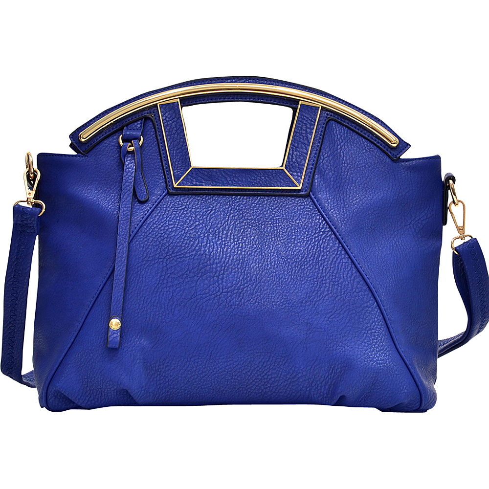 Dasein Soft Faux Leather Frame Handle Satchel Blue - Dasein Manmade Handbags - Handbags, Manmade Handbags