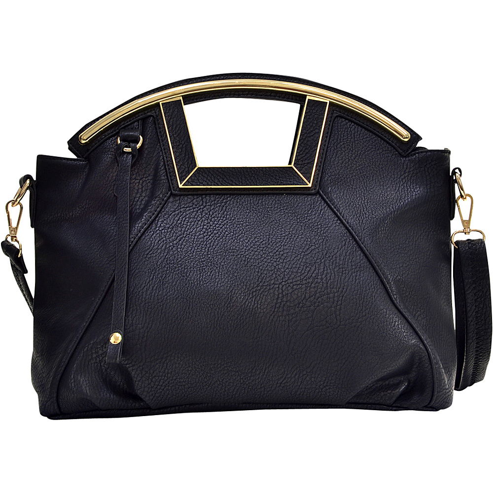 Dasein Soft Faux Leather Frame Handle Satchel Black - Dasein Manmade Handbags - Handbags, Manmade Handbags