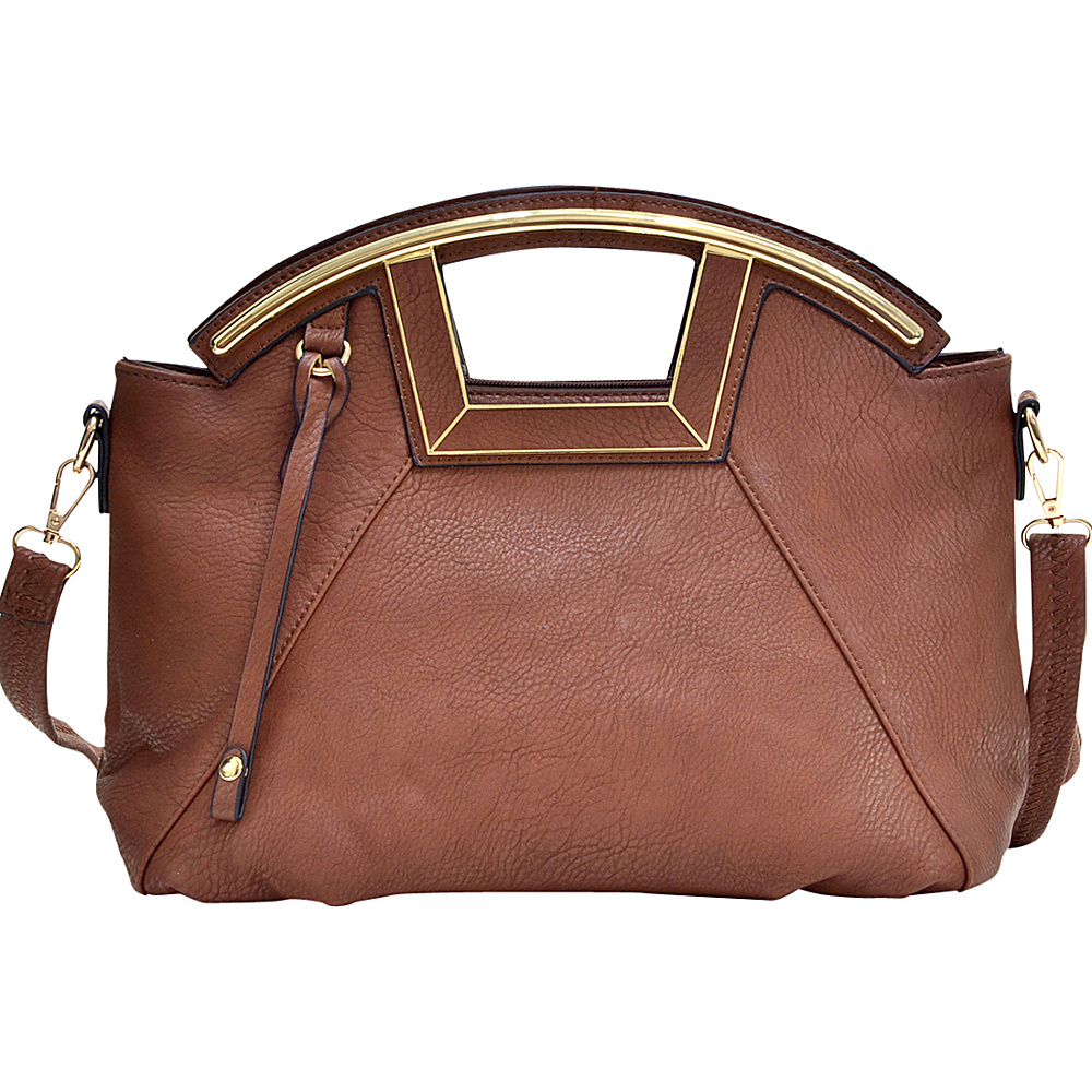 Dasein Soft Faux Leather Frame Handle Satchel Brown - Dasein Manmade Handbags - Handbags, Manmade Handbags