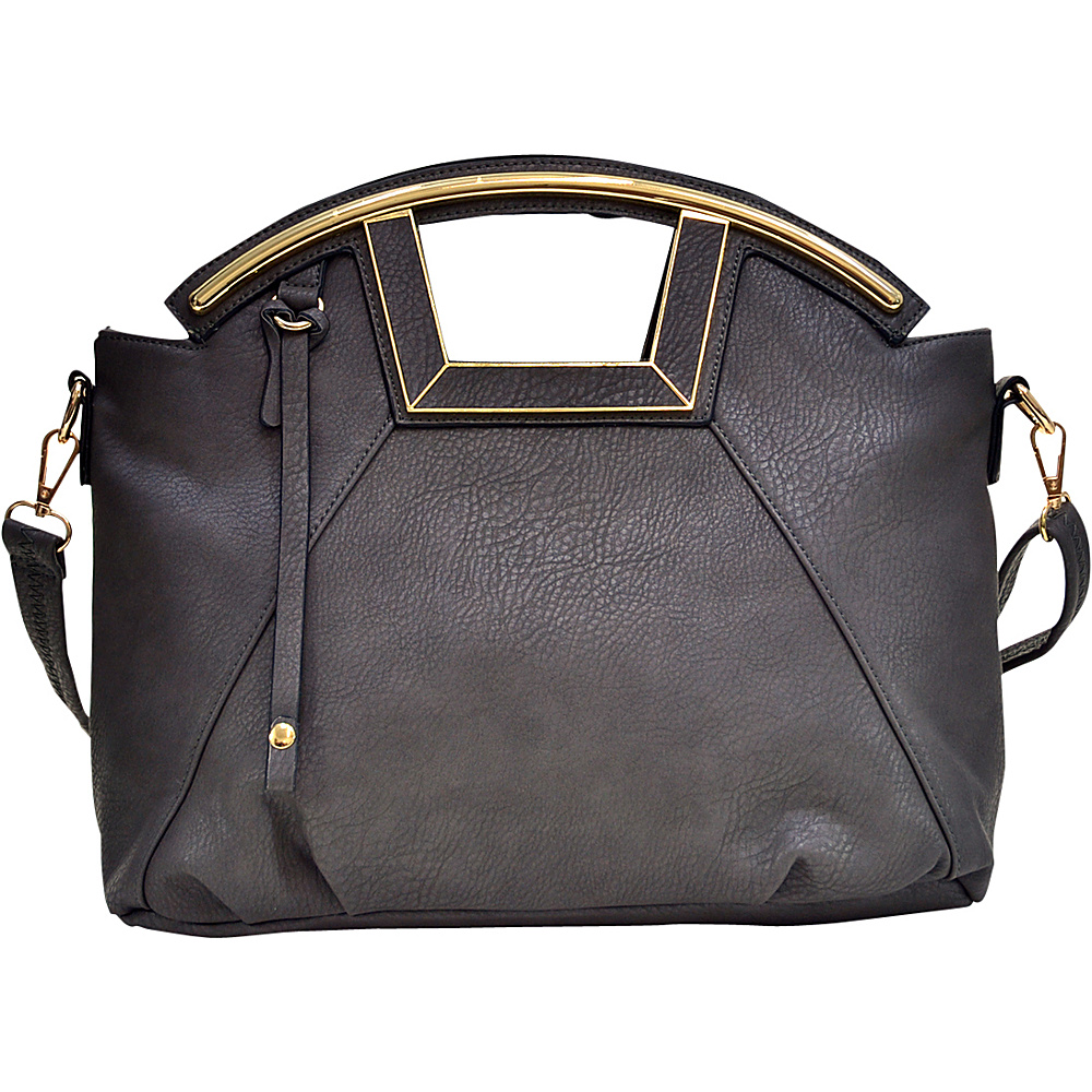 Dasein Soft Faux Leather Frame Handle Satchel Grey - Dasein Manmade Handbags - Handbags, Manmade Handbags