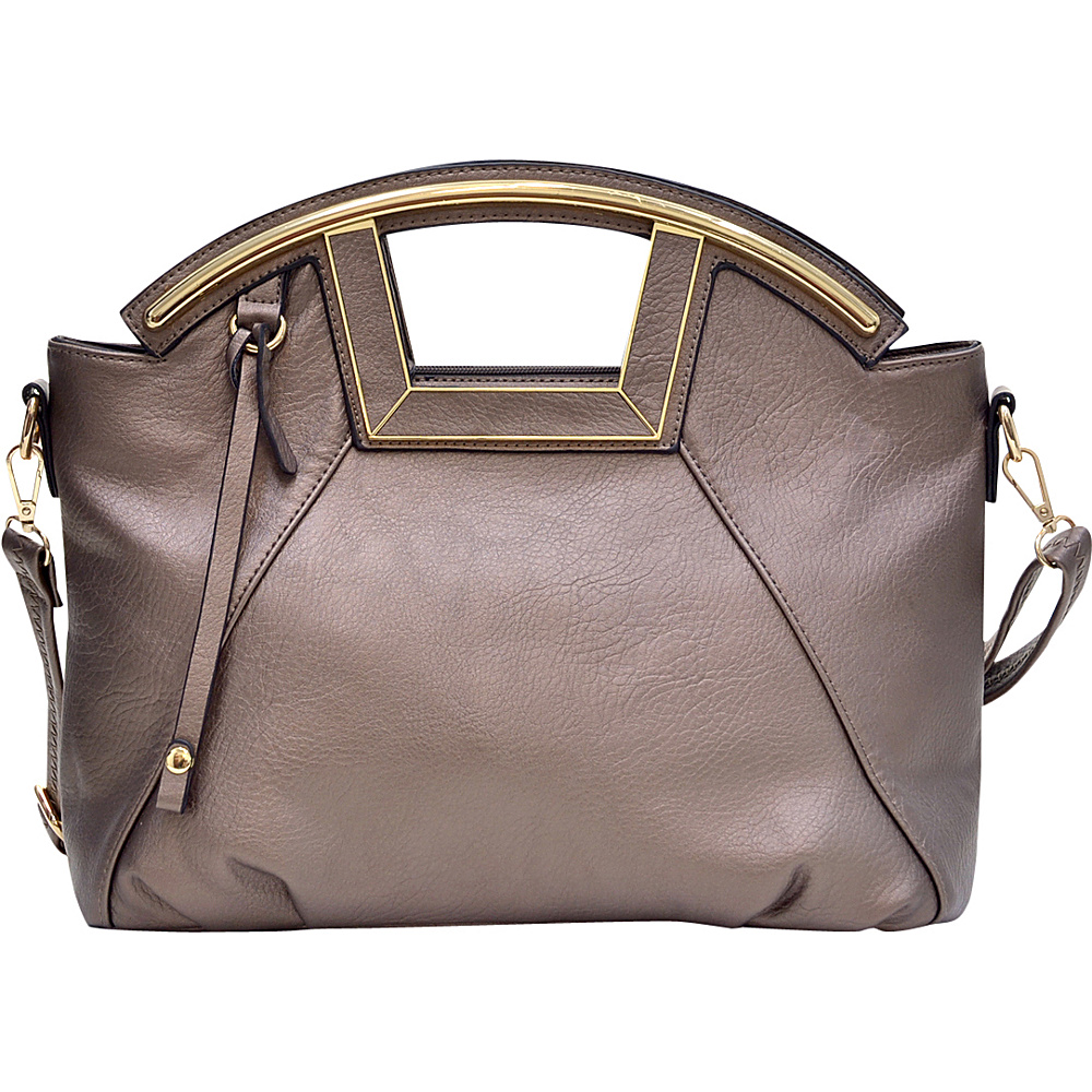 Dasein Soft Faux Leather Frame Handle Satchel Silver - Dasein Manmade Handbags - Handbags, Manmade Handbags