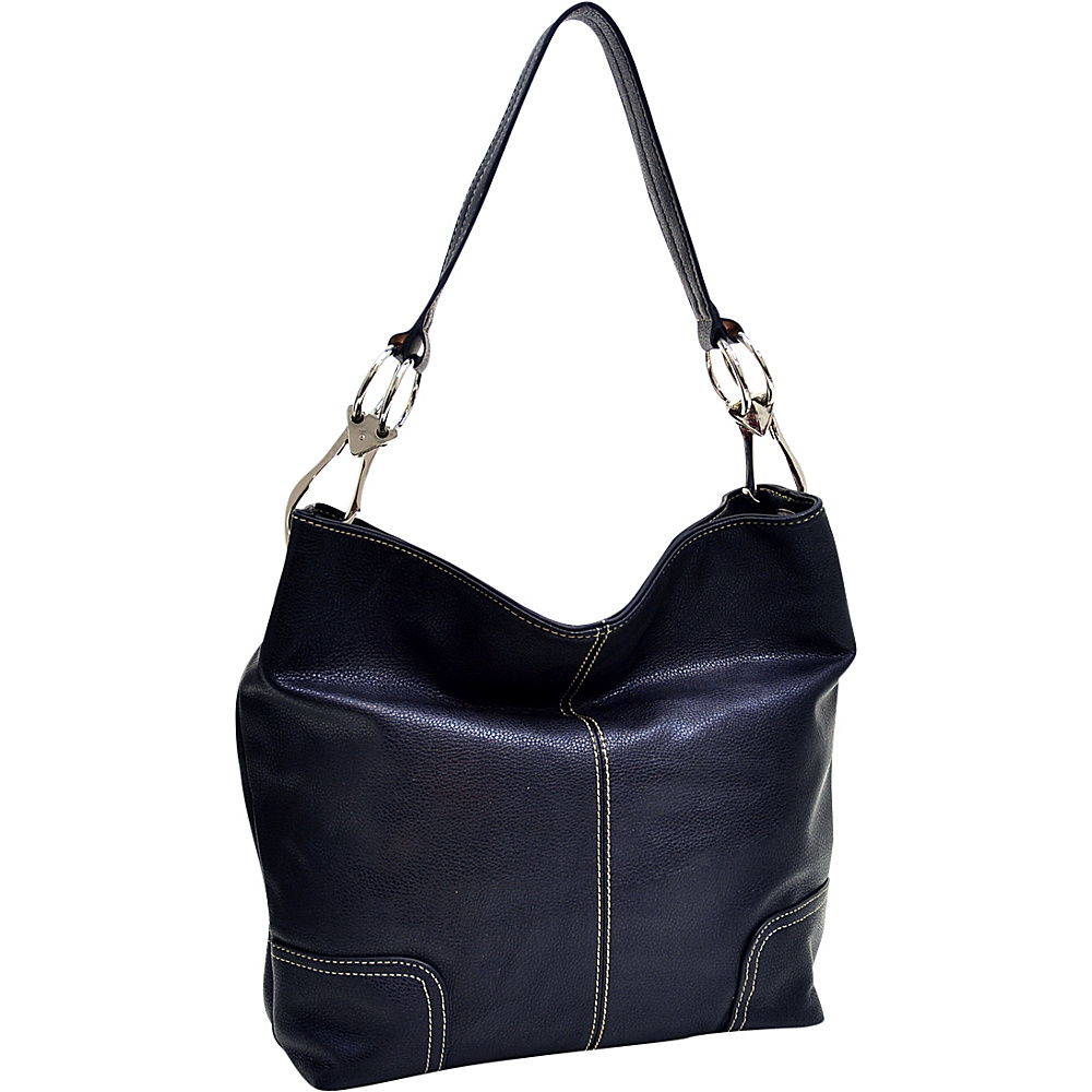 Dasein Classic Corner Patched Hobo Black Dasein Manmade Handbags