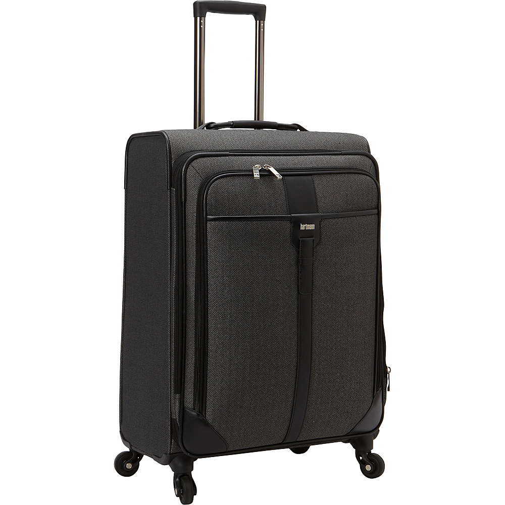 Hartmann Luggage Herringbone Luxe Softside Medium Journey Expandable Spinner Black Herringbone Hartmann Luggage Softside Checked