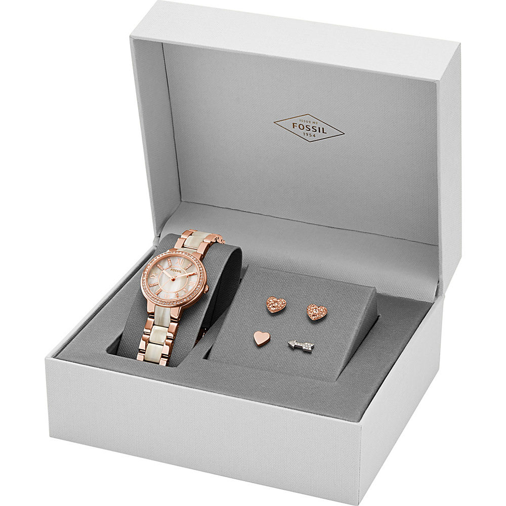Fossil Virginia Three-Hand Stainless Steel Watch and Earring Set Rose Gold - Fossil Watches - Fashion Accessories, Watches