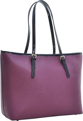 Dasein Patent Faux Leather Trim Tote Wine - Dasein Manmade Handbags