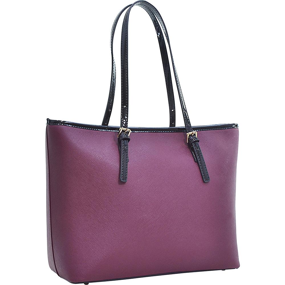 Dasein Patent Faux Leather Trim Tote Wine - Dasein Manmade Handbags - Handbags, Manmade Handbags