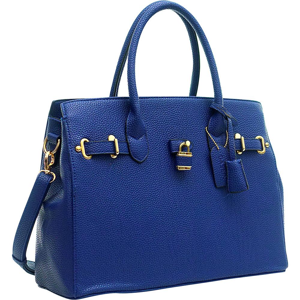 Dasein Buffalo Faux Leather Satchel Navy Blue - Dasein Manmade Handbags - Handbags, Manmade Handbags