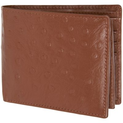 Access Denied Men's Genuine Leather RFID Blocking Secure Wallet 10 Card Slots ID Theft Protection Tan Ostrich - Access Denied Men's Wallets