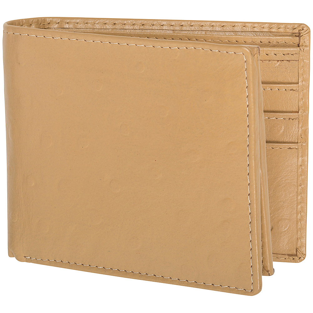 Access Denied Men s Genuine Leather RFID Blocking Secure Wallet 10 Card Slots ID Theft Protection Beige Ostrich Access Denied Men s Wallets