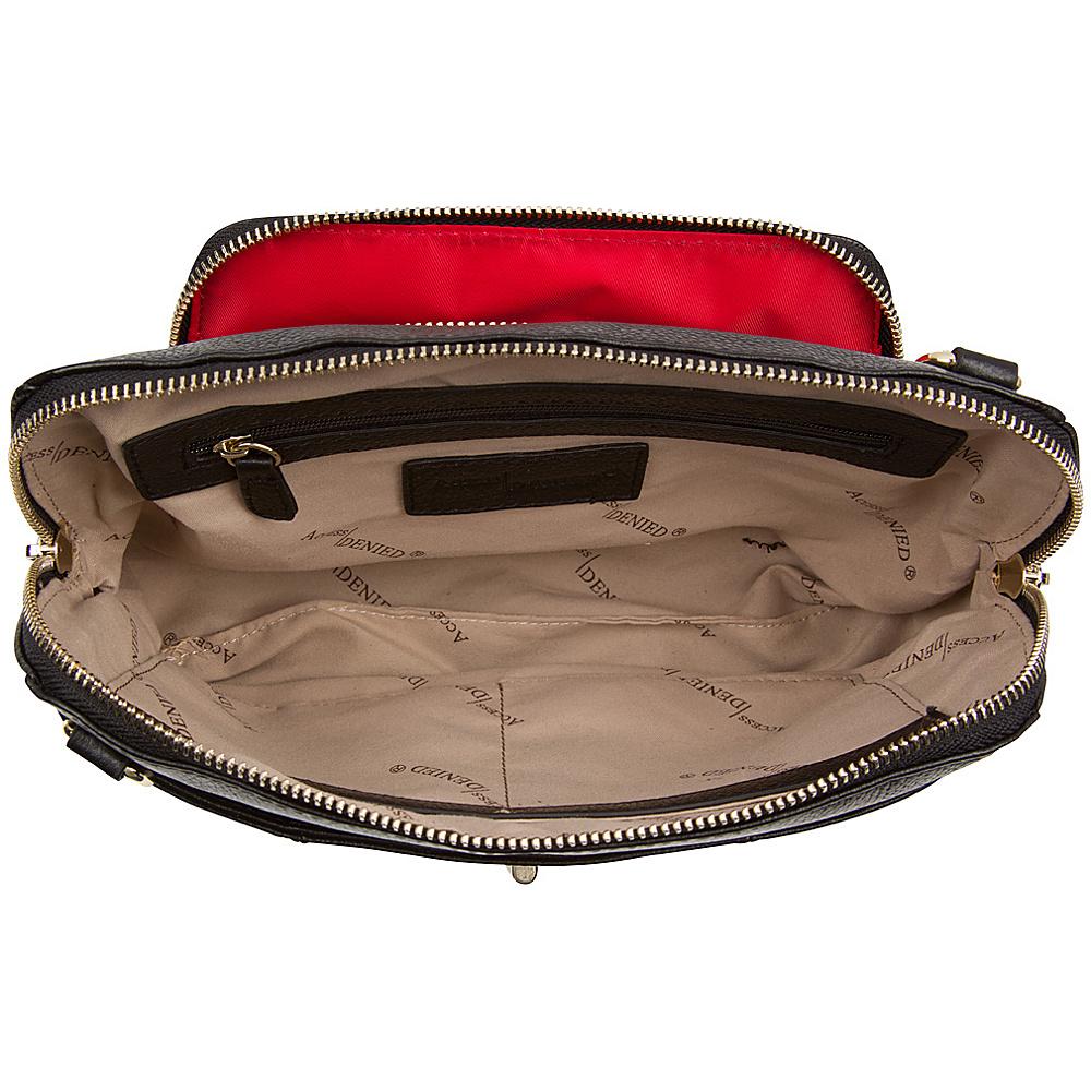 Access Denied Women's RFID Purse Crossbody with built in Wallet Organizer Black Pebble - Access Denied Leather Handbags