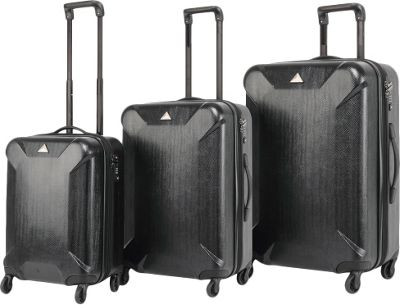 Triforce Oxford Collection Hardside 3-piece Spinner Luggage Set Black - Triforce Luggage Sets