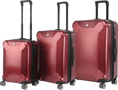 Triforce Oxford Collection Hardside 3-piece Spinner Luggage Set Burgundy - Triforce Luggage Sets