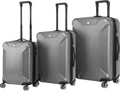 Triforce Oxford Collection Hardside 3-piece Spinner Luggage Set Gun Metal - Triforce Luggage Sets