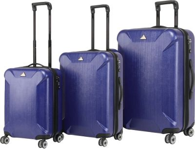 Triforce Oxford Collection Hardside 3-piece Spinner Luggage Set Navy - Triforce Luggage Sets