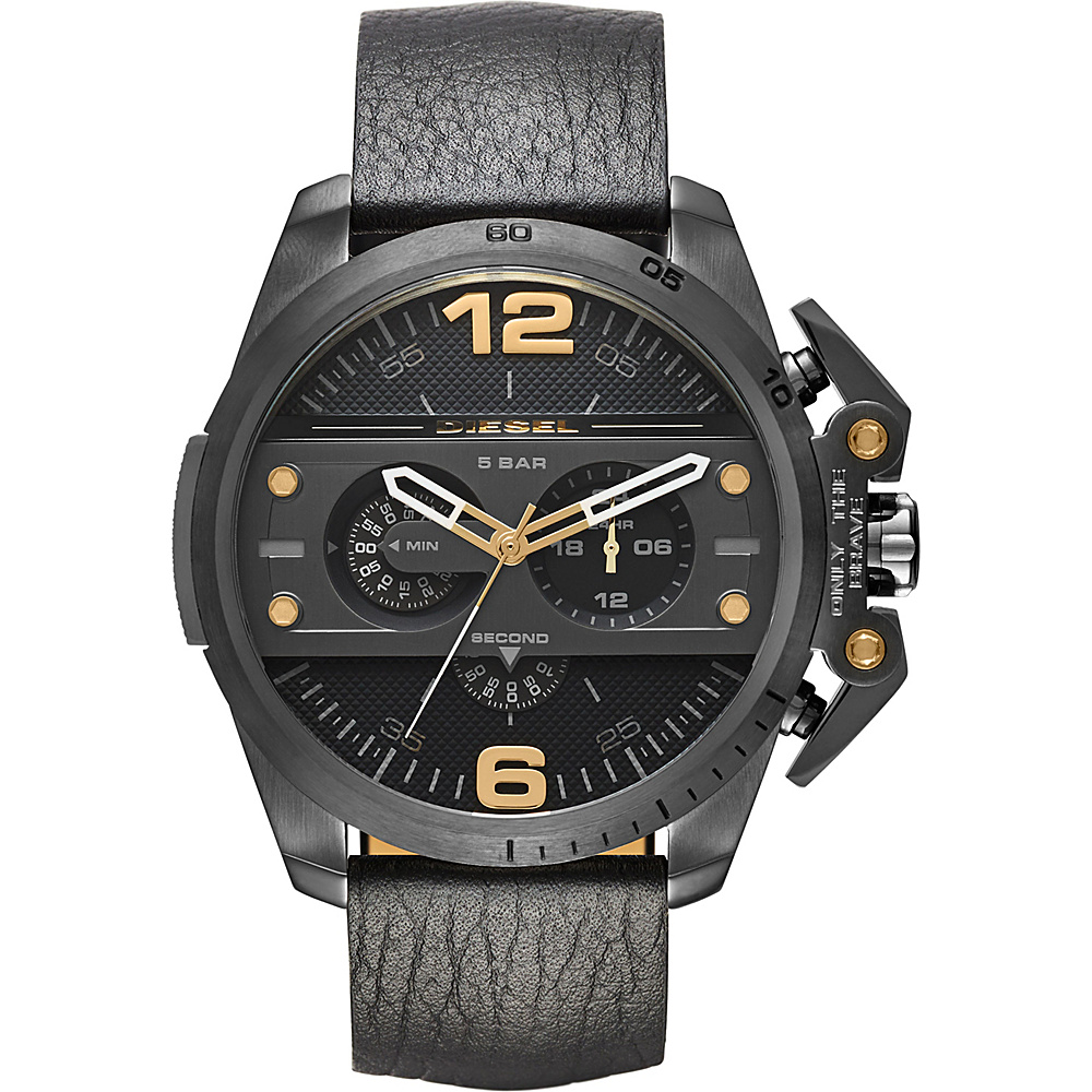 Diesel Watches Ironside Chronograph Leather Watch Black Diesel Watches Watches