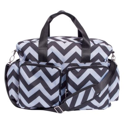 Trend Lab Black and Gray Chevron Deluxe Duffle Diaper Bag Gray and Black - Trend Lab Diaper Bags & Accessories