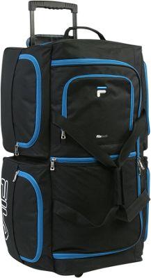 Fila 7-Pocket Large Rolling Duffel Bag Black/Blue - Fila Rolling Duffels