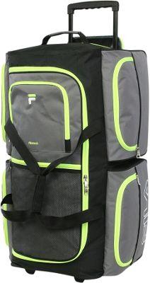 Fila 7-Pocket Large Rolling Duffel Bag Grey/Neon Green - Fila Rolling Duffels
