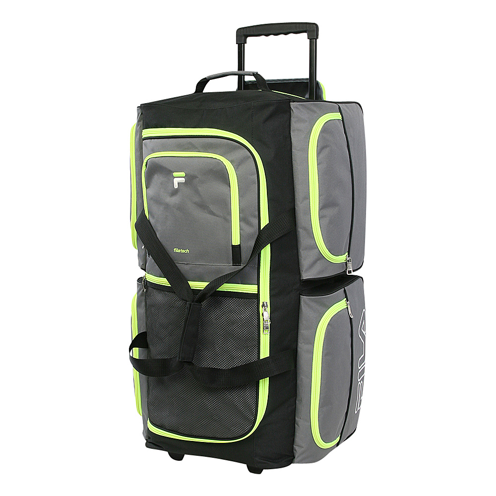 Fila 7-Pocket Large Rolling Duffel Bag Grey/Neon Green - Fila Rolling Duffels