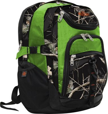 RealTree 3 Section Laptop Back Pack AP Black/ Lime - RealTree Business & Laptop Backpacks