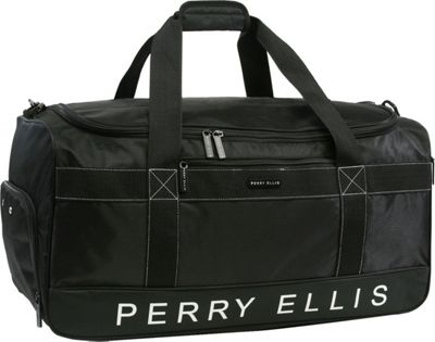 Perry Ellis Medium Weekender Duffel Bag with Shoe Pocket Black - Perry Ellis Travel Duffels