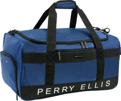 Perry Ellis Medium Weekender Duffel Bag with Shoe Pocket Navy - Perry Ellis Travel Duffels