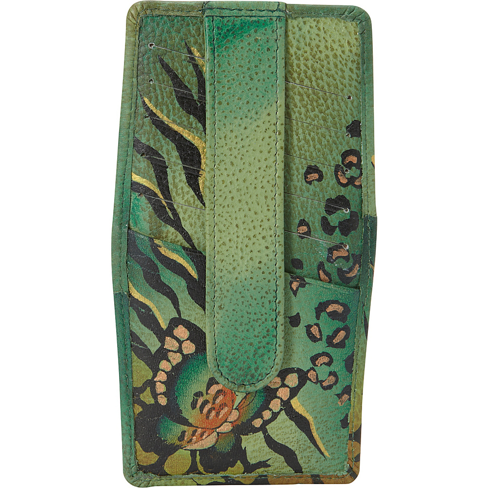 ANNA by Anuschka Hand Painted Credit Card Holder Animal Butterfly Green ANNA by Anuschka Women s Wallets