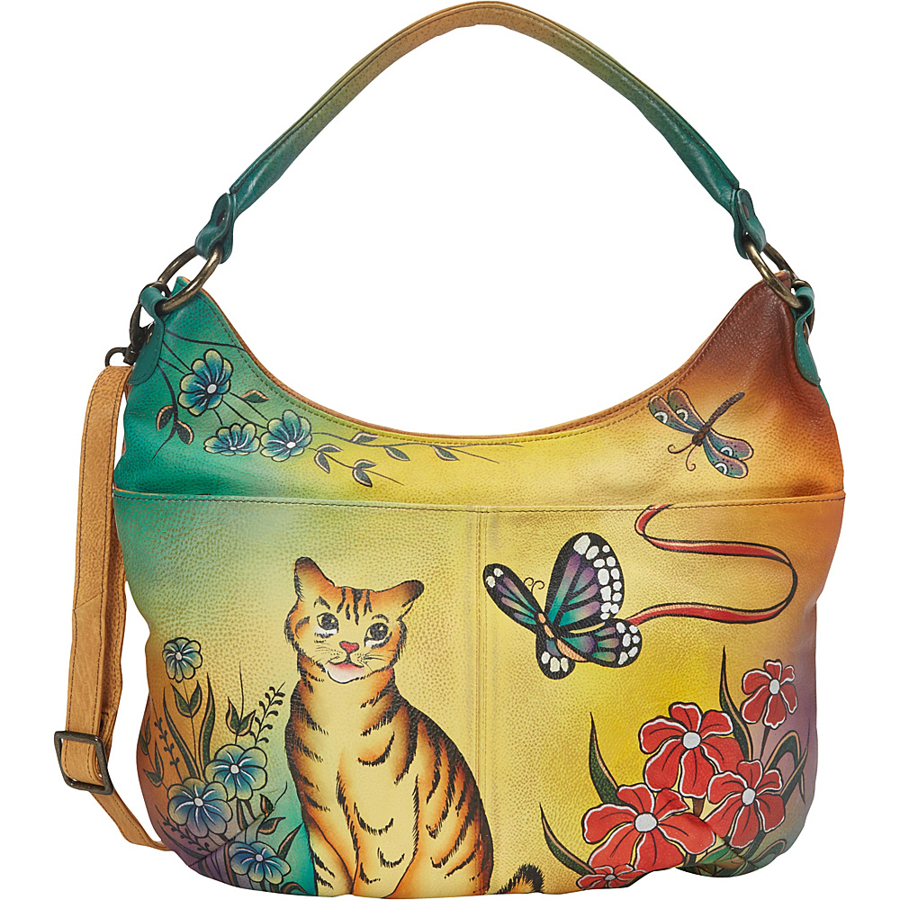 ANNA by Anuschka Hand Painted Convertible Hobo Cat ANNA by Anuschka Leather Handbags