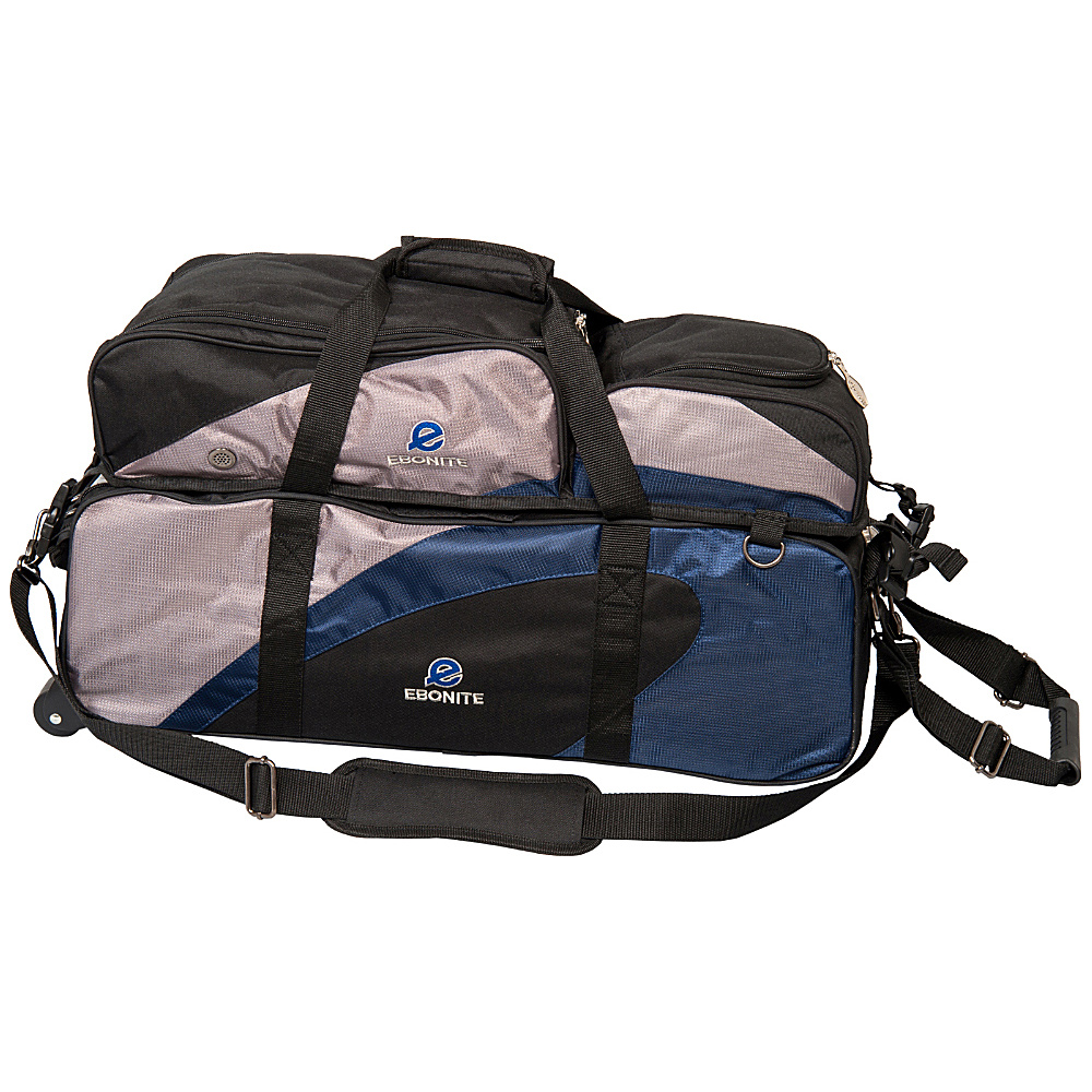 Ebonite Team Ebonite 3 Ball Tote with Removable Pouch Navy Silver Ebonite Bowling Bags