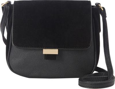 nu G Suede Flap Saddle Bag Black - nu G Manmade Handbags