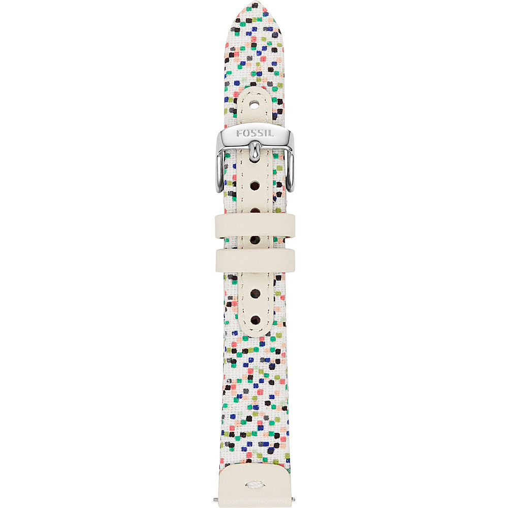 Fossil Leather and Canvas 16mm Watch Strap White/Multi - Fossil Watches - Fashion Accessories, Watches