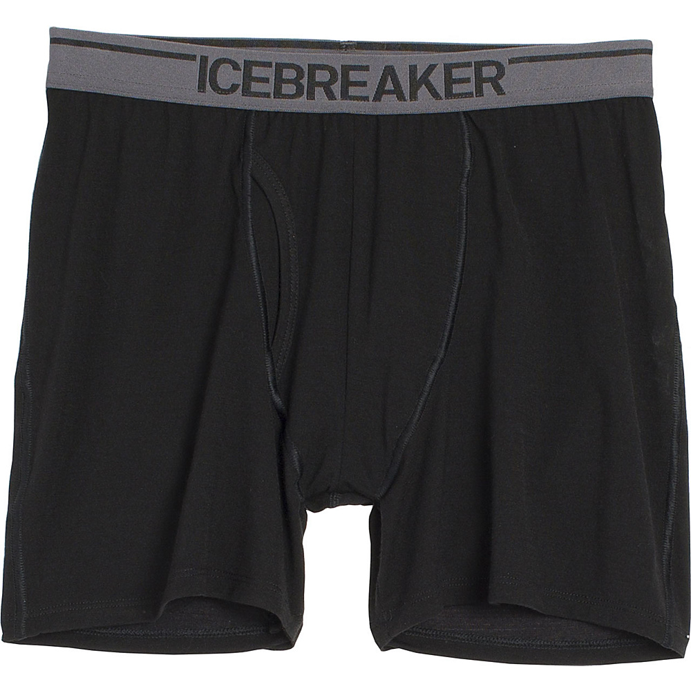 Icebreaker Mens Anatomica Boxers with Fly L - Black - Icebreaker Mens Apparel - Apparel & Footwear, Men's Apparel