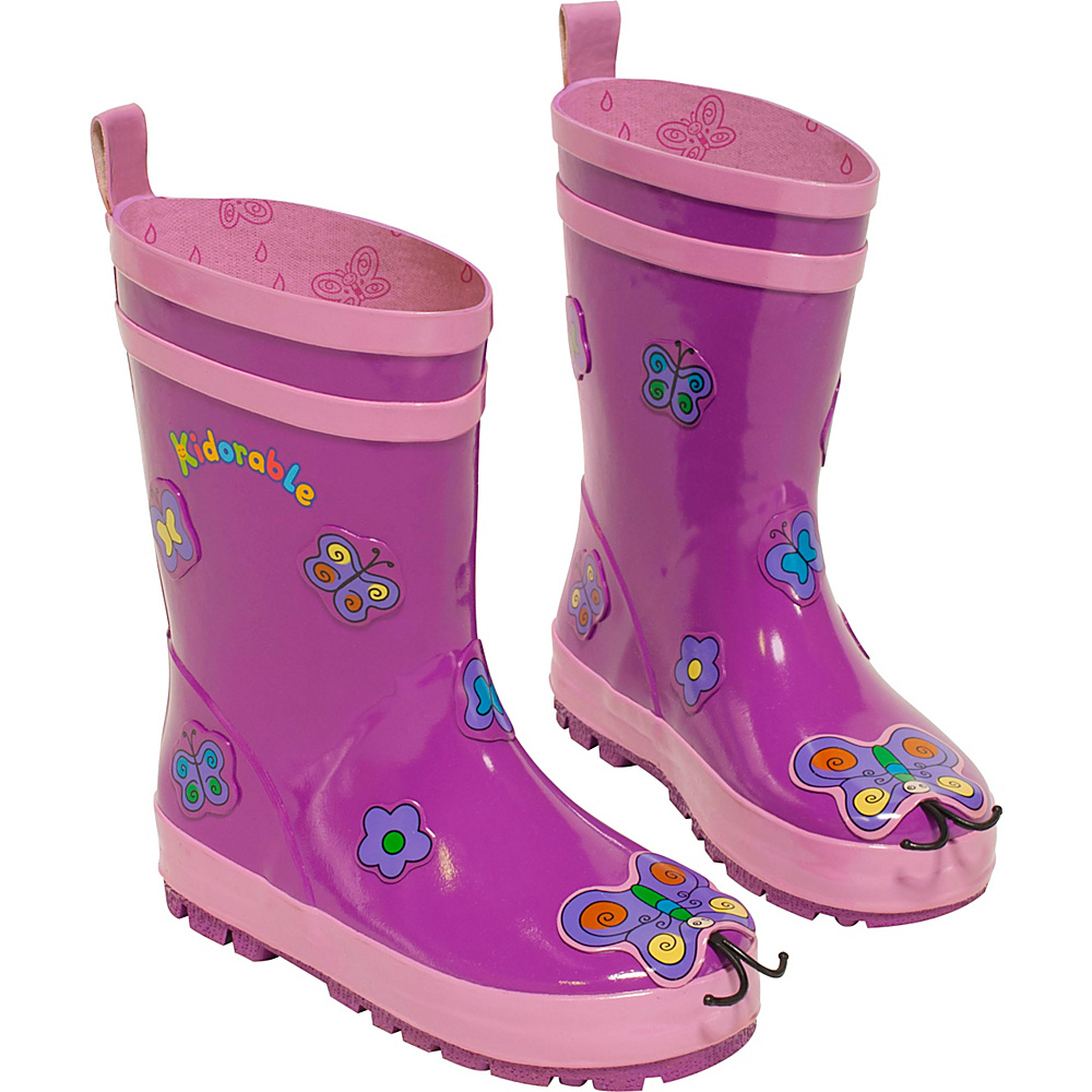 Kidorable Butterfly Rain Boots 2 (US Kids) - M (Regular/Medium) - Purple - Kidorable Womens Footwear - Apparel & Footwear, Women's Footwear