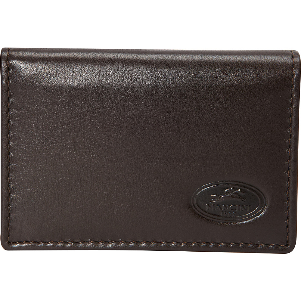 Mancini Leather Goods Expandable RFID Secure Credit Card Case Wallet Brown - Mancini Leather Goods Men's Wallets
