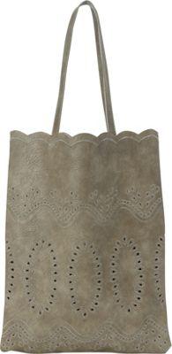 nu G Laser Cut Shoppers Tote Grey - nu G Manmade Handbags