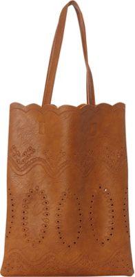 nu G Laser Cut Shoppers Tote Cognac - nu G Manmade Handbags