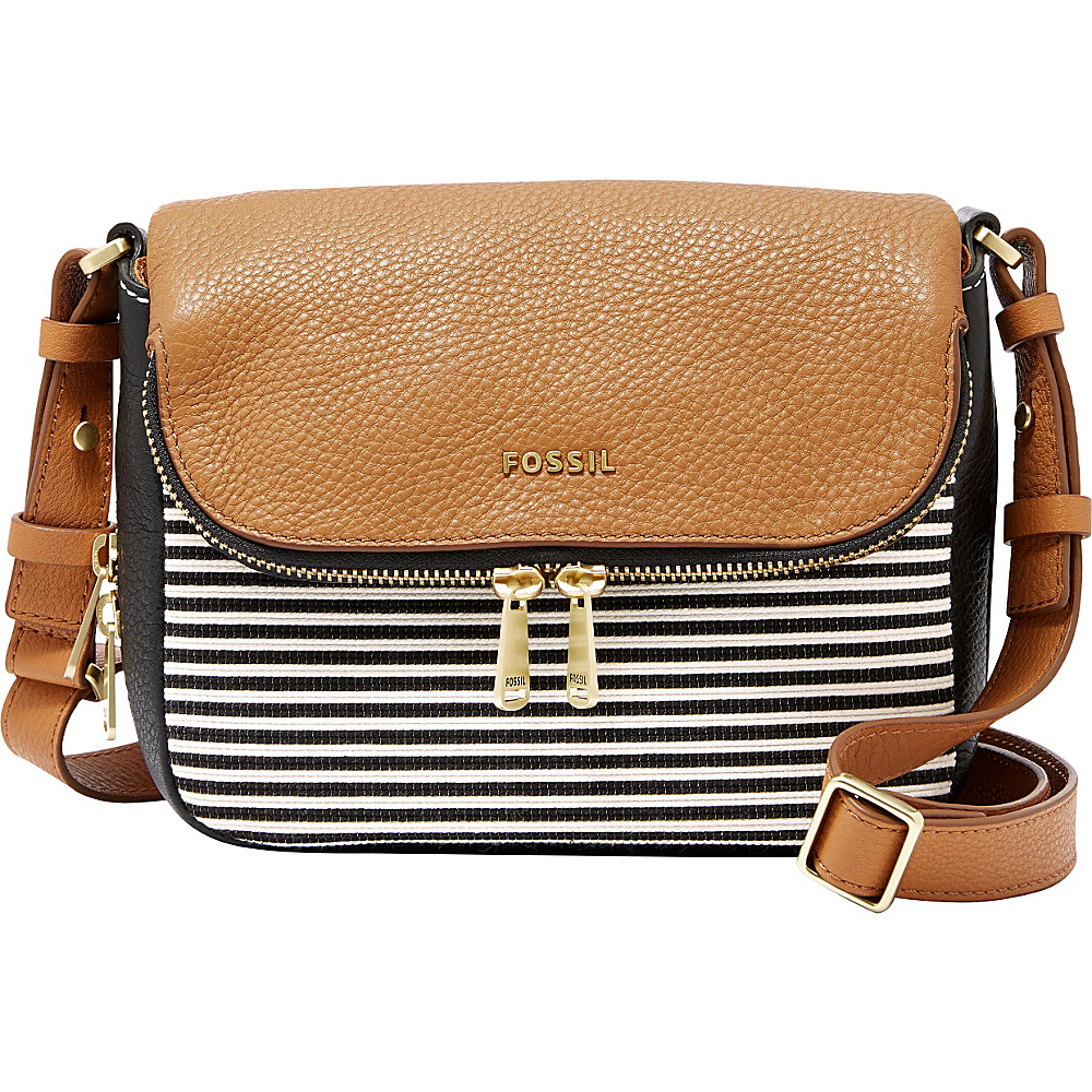 22e4206604 The most competitive prices for Handbags, Bags, Totes, Shoulder Bags,  Travel Bags, Briefcases, Clutches, and more! Fossil Preston Small Flap  Black Stripe ...
