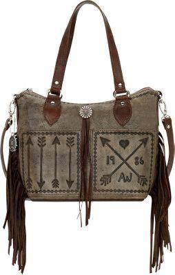 American West Cross My Heart Convertible Zip Top Bucket Tote Distressed Charcoal - American West Leather Handbags