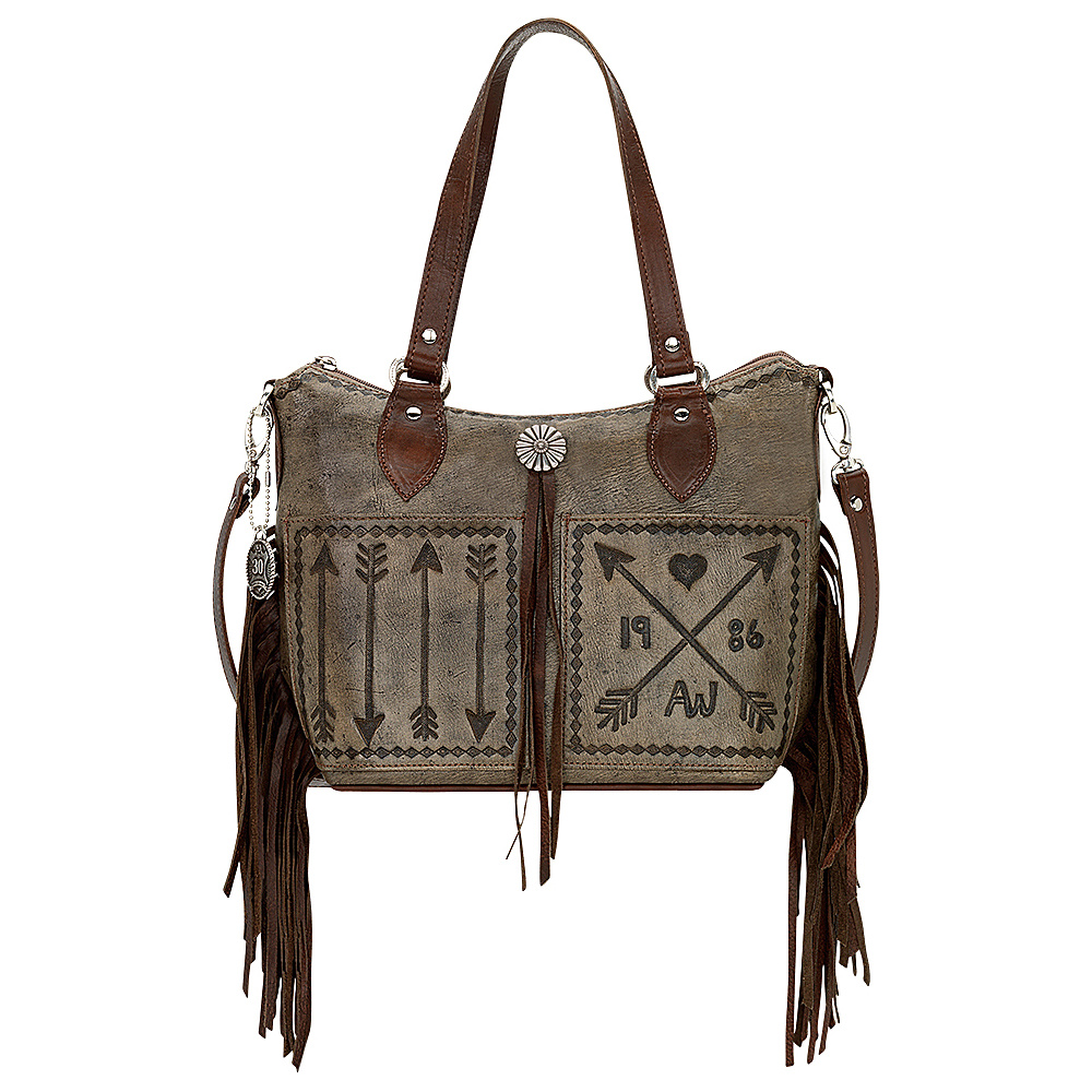 American West Cross My Heart Convertible Zip Top Bucket Tote Distressed Charcoal American West Leather Handbags