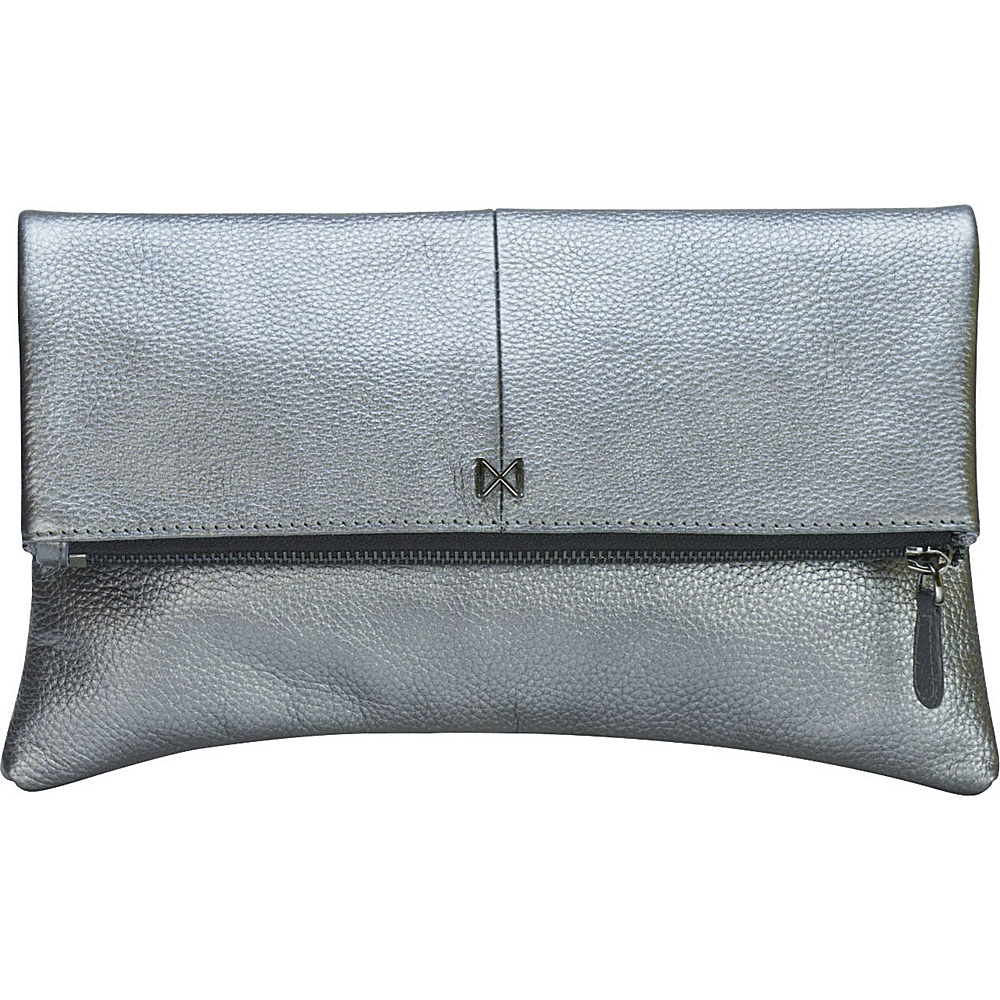 MOFE Esoteric Pebble Leather Clutch Pewter MOFE Leather Handbags
