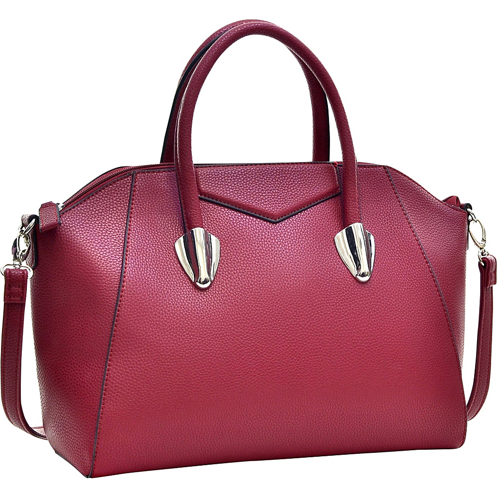 Dasein Faux Leather Weekender Satchel with Removable Strap Burgundy Red - Dasein Manmade Handbags - Handbags, Manmade Handbags