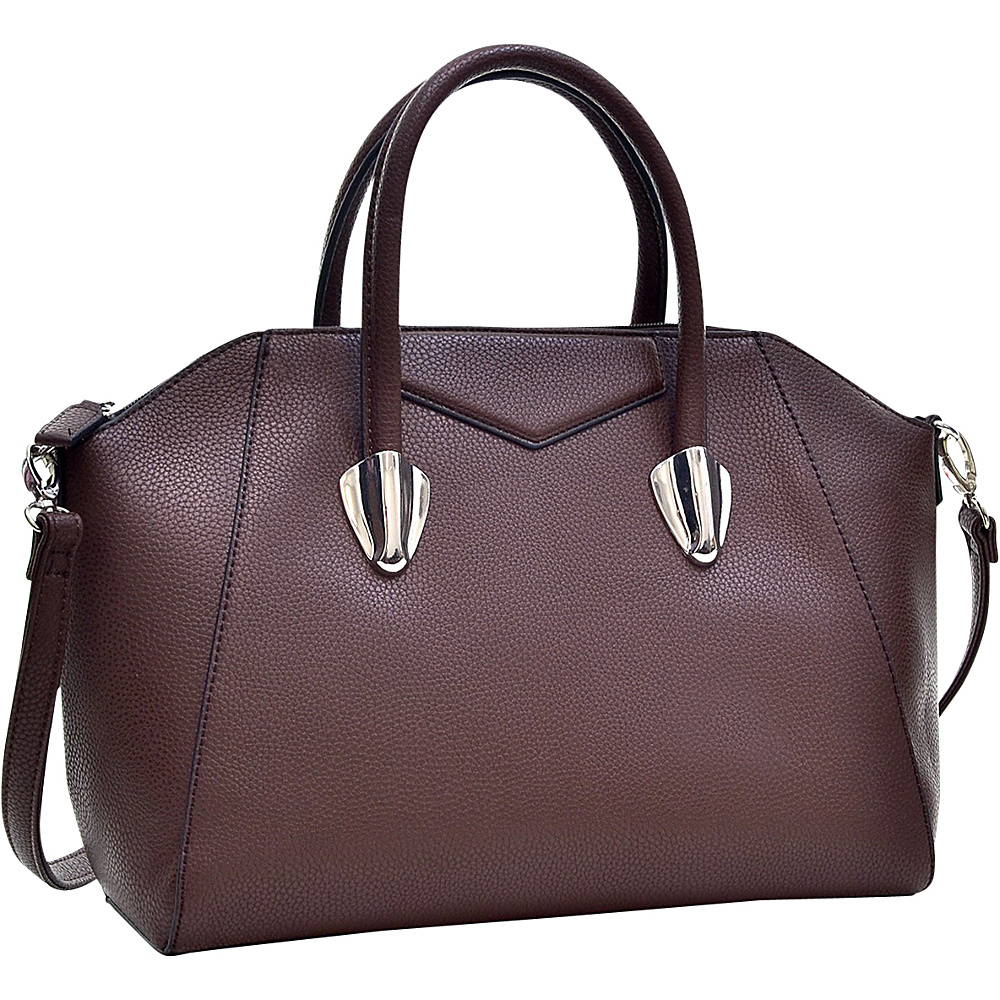 Dasein Faux Leather Weekender Satchel with Removable Strap Coffee - Dasein Manmade Handbags - Handbags, Manmade Handbags