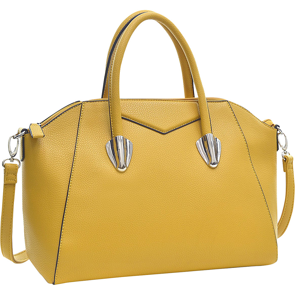 Dasein Faux Leather Weekender Satchel with Removable Strap Yellow - Dasein Manmade Handbags - Handbags, Manmade Handbags