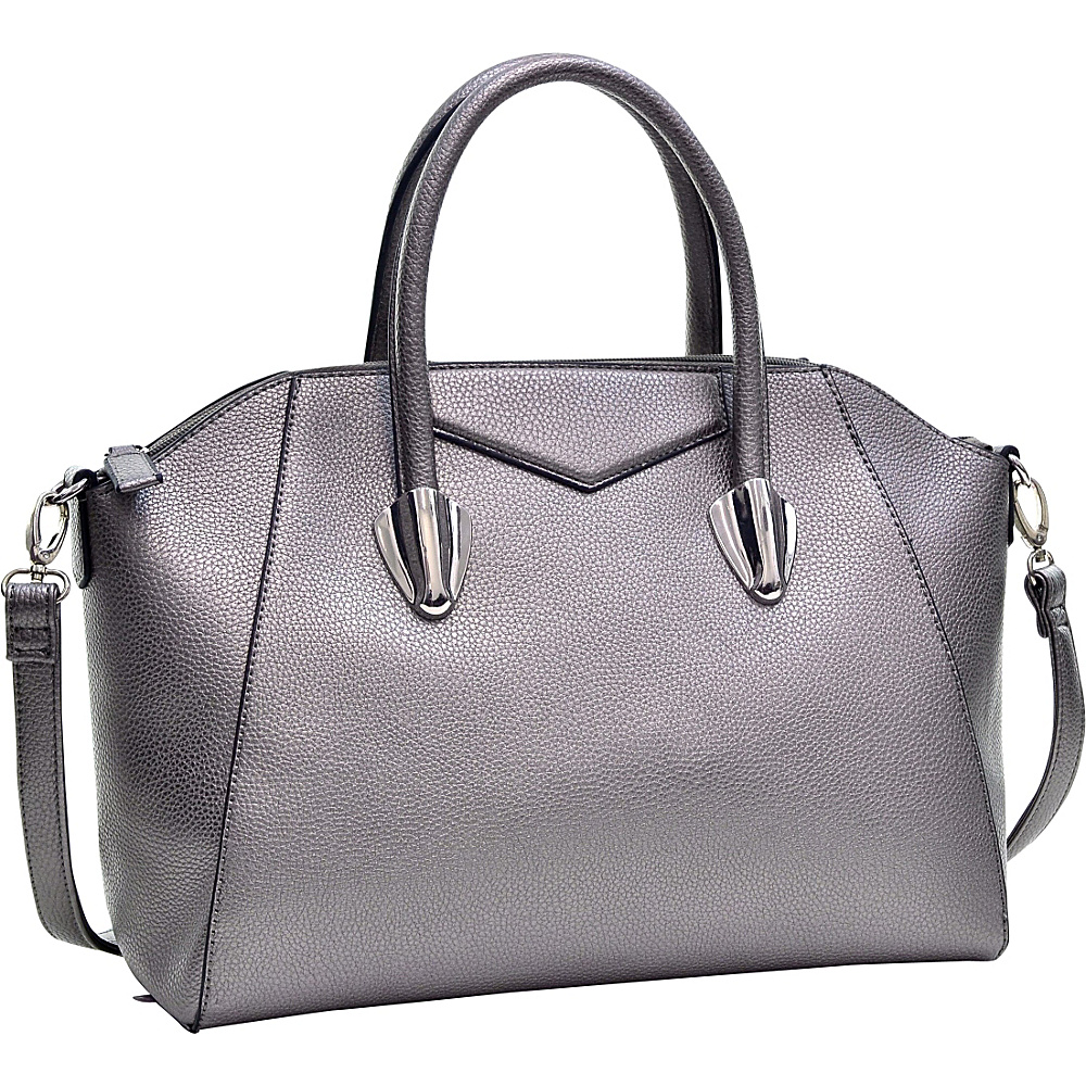 Dasein Faux Leather Weekender Satchel with Removable Strap Silver - Dasein Manmade Handbags - Handbags, Manmade Handbags