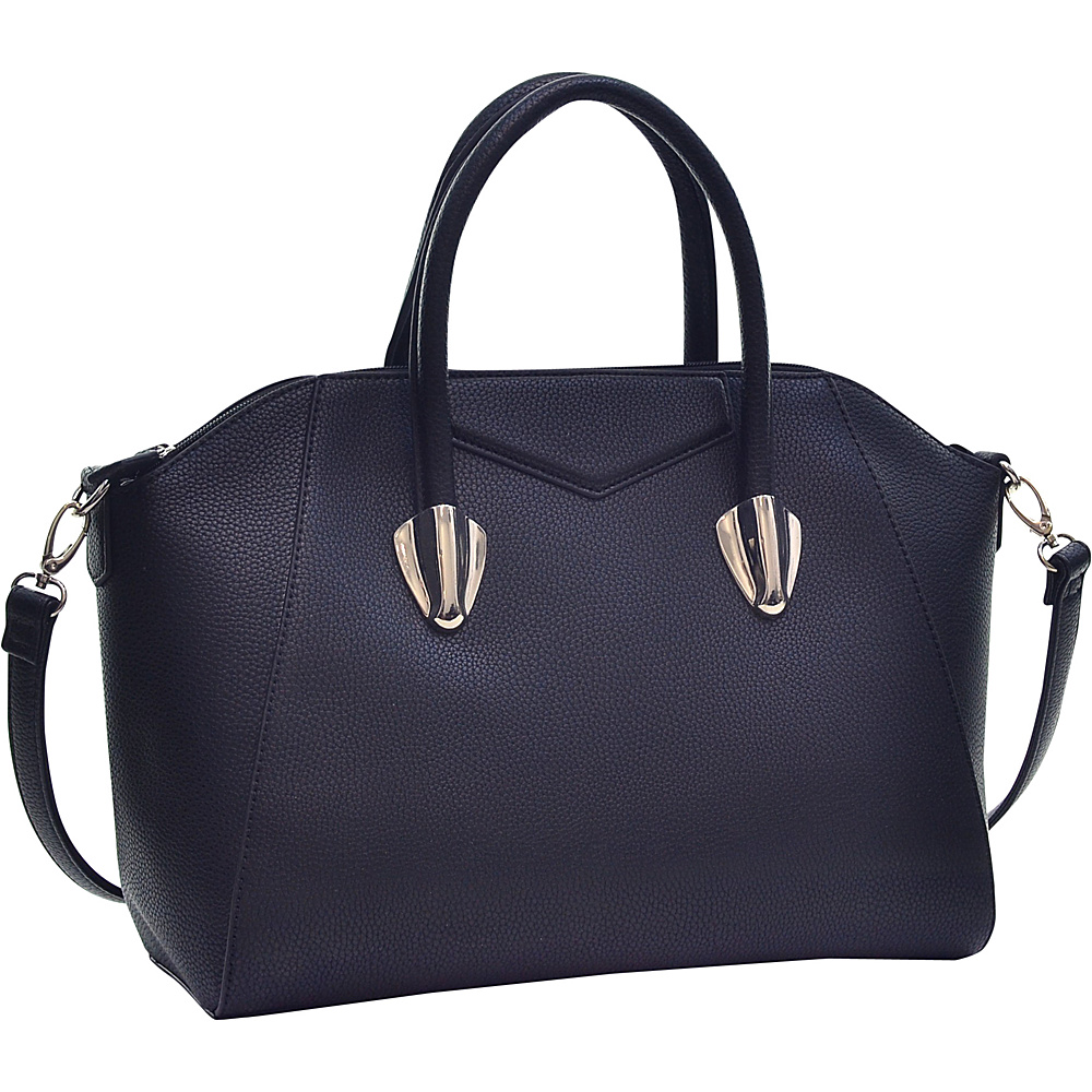 Dasein Faux Leather Weekender Satchel with Removable Strap Black - Dasein Manmade Handbags - Handbags, Manmade Handbags