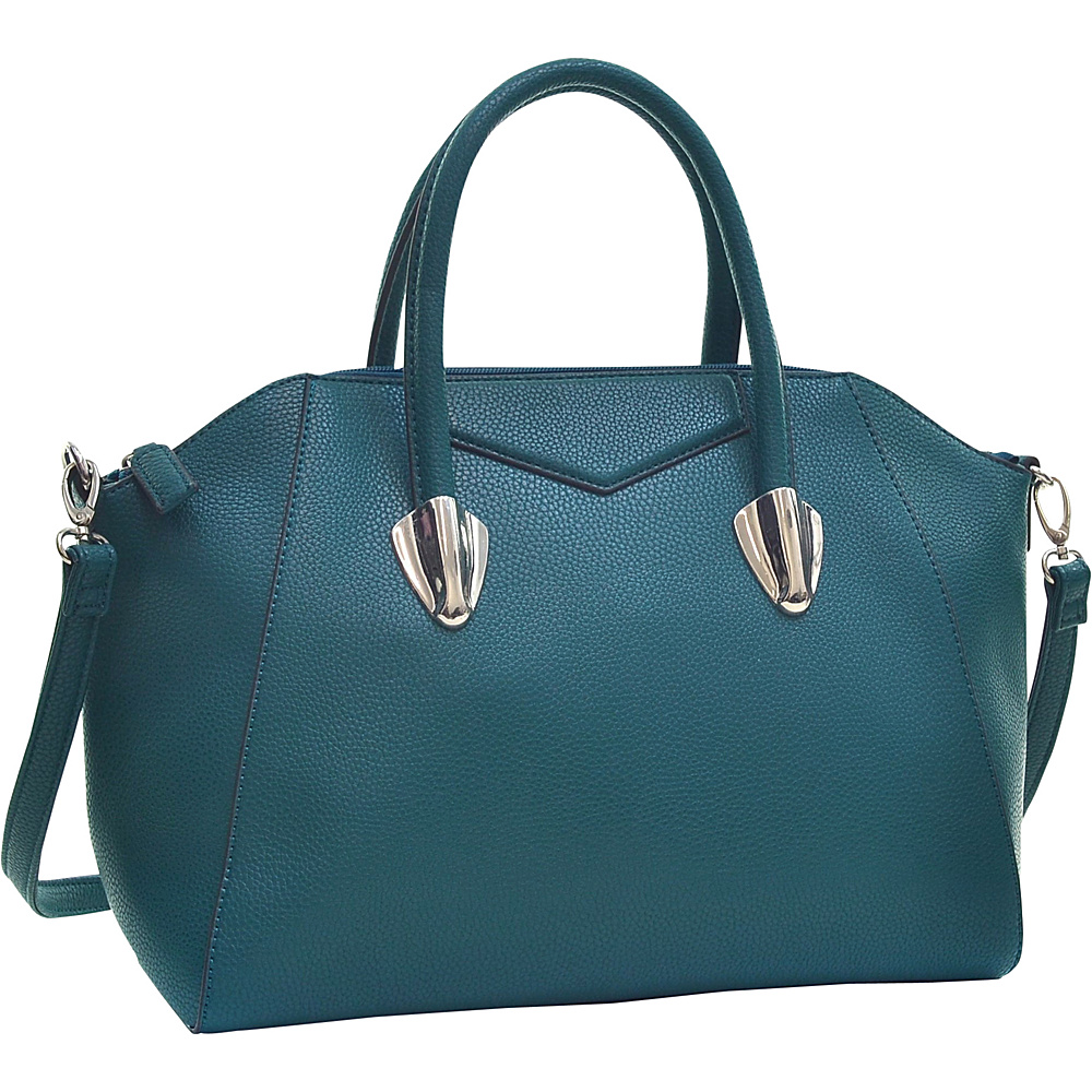 Dasein Faux Leather Weekender Satchel with Removable Strap Green - Dasein Manmade Handbags - Handbags, Manmade Handbags