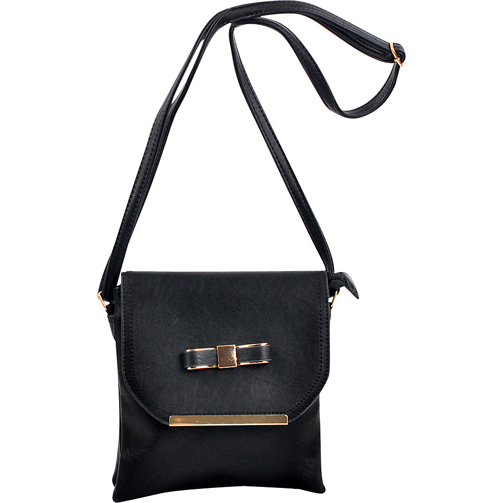 Dasein Gold-Tone Bow Crossbody Bag Black - Dasein Leather Handbags - Handbags, Leather Handbags