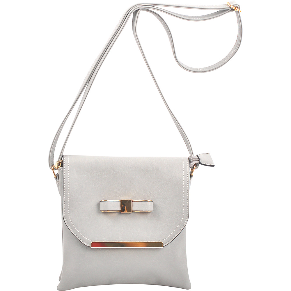 Dasein Gold-Tone Bow Crossbody Bag Grey - Dasein Leather Handbags - Handbags, Leather Handbags