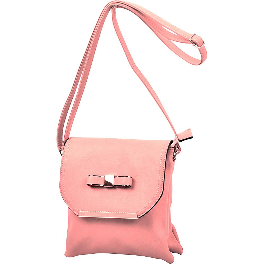 Dasein Gold-Tone Bow Crossbody Bag Light Pink - Dasein Leather Handbags - Handbags, Leather Handbags
