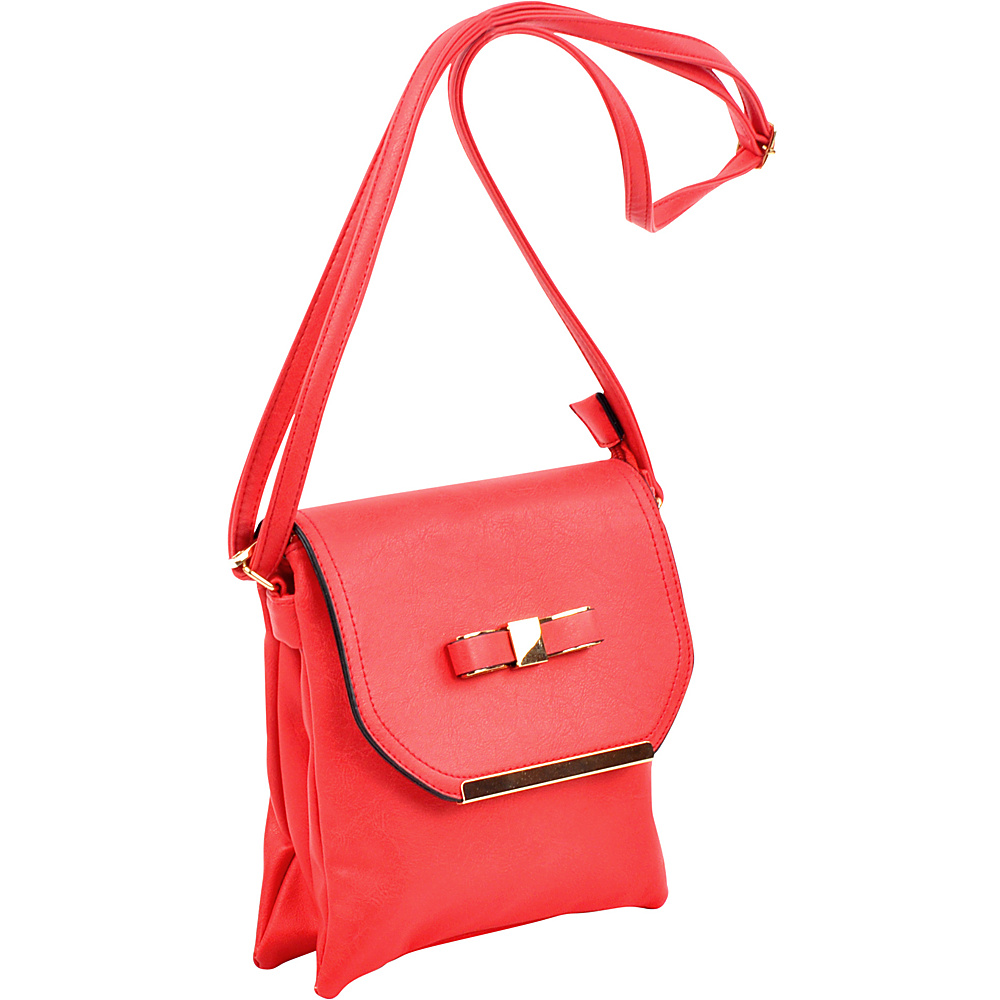 Dasein Gold-Tone Bow Crossbody Bag Red - Dasein Leather Handbags - Handbags, Leather Handbags